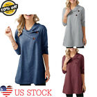 Womens Long Sleeve Casual Blouse Crisscross V-neck Loose Tops Trench Pullover US