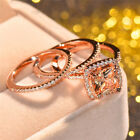 Women Gorgeous Rose Gold Filled Rings Citrine Birthstone wedding Ring Size 6-10