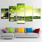 Green Bamboo Shoot Flowing Water Candle Spa Stones 5 Panel Canvas Print Wall Art