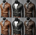 USA New Men's Fashion Jackets Collar Slim Motorcycle Leather Jacket Coat Outwear