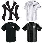 NY New York Yankees Button Jersey Striped Baseball Open T-Shirt Uniform Tee 0110 on Ebay