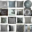 Cushion cover or cushions Crush Velvet fur diamante various designs silver17x17