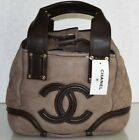 New-CHANEL-Small-Tote-Bag-Suede-Brown-Handbag-Bag-SHEARLING-FUR-Quilted-CC