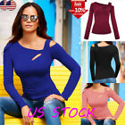 Womens Solid Long Sleeve Slim Oblique One Shoulder T Shirt B