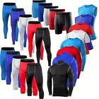 Mens Compression Pants Tops Under Base Layers Tights Gym Running Workout Clothes