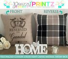 PERSONALISED CUSHION TARTAN CHRISTMAS RESERVED FOR GRANDAD MOM DAD NAN GIFT
