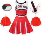 ADULT LADIES RED ZOMBIE CHEERLEADER HALLOWEEN HORROR FANCY DRESS COSTUME OUTFIT