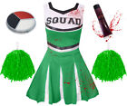 ADULT GREEN ZOMBIE CHEERLEADER HALLOWEEN HORROR FANCY DRESS COSTUME OUTFIT