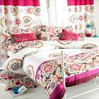 Paoletti Festival Indian Floral Cotton Duvet Cover Set, White/Magenta