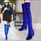 Womens Stretchy Velvet Over The Knee Thigh High Boots High Heel Shoes Winter Zip