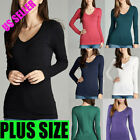 New Women PLUS Long Sleeve V-NECK T-Shirt Active Basic Cotton Layering 1X,2X, 3X