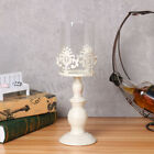 Vintage Galvanized Iron Pillar Candle Holder With Glass Lampshade UK Stock