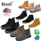 Black Mens Flat Suede Chelsea Chukka Dress Ankle Boots Casual Chelsea Shoes 7 8
