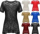 Womens Lace Sequin Top Ladies Short Sleeve Peplum Frill Fancy Party Wear Top