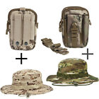 2pc Waist Bag Tactical Pack Belt Pouch Pocket Hat Fishing Sun Cap Camo Wide Brim