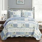 Brea Antique Quilts Floral Patchwork Printed Lightweight 3 Piece Coverlet Set image
