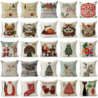 "18"" Merry Christma Cotton Linen Throw Pillow Case Sofa Cushion Cover Home Decor image"