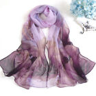 Women Georgette Lotus Printed Large Soft Stole Wraf Scarf Ladies Shawl Pashmina