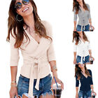 Women's Deep V Neck Long Sleeve Belted Waist Wrap Front Slim Fit Tops Blouse New