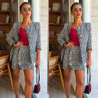 Womens Ladies Tweed Jacket Evening Blazer Skirt Suit Set Plaid Pockets Buttons