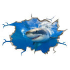 Wall Stickers Shark Ocean Sea Bathroom Fish Smashed Decal 3D Art Hole Room S205