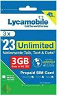 LYCAMOBILE Preloaded Sim Card Prepaid $23/$29/$35 1/2/3 Months Text Talk Data