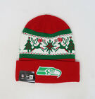 NEW ERA NFL Seattle Seahawks Christmas Holiday Red Green Cuffed Knit Beanie Hat $20.0 USD on eBay