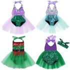 Baby Girls Halter Mermaid Romper Cosplay Outfits Shiny Sequins Swimwear Costume