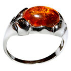 2.65g Authentic Baltic Amber 925 Sterling Silver Ring Jewelry N-A7038