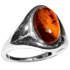 2.74g Authentic Baltic Amber 925 Sterling Silver Ring Jewelry N-A7124