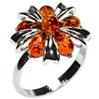 3.4g Authentic Baltic Amber 925 Sterling Silver Ring Jewelry N-A7321