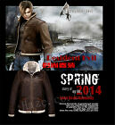 RE4 Resident Evil 4 Leon Kennedy's Custome PU Faux Leather Fur Jacket Coat
