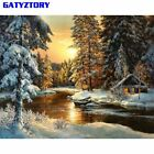 GATYZTORY Village Snow DIY Painting By Numbers Canvas Painitng Home Wall Art