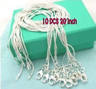 WHOLESALE Bulk 10PCS 1MM SOLID 925SILVER JEWELRY SNAKE CHAINS NECKLACE HOT SALE