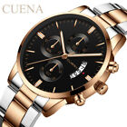 CUENA Men Fashion Military Stainless Steel Analog Date Sport Quartz Wrist Watch image