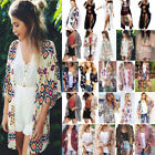 Boho Womens Cover Up Loose Floral Kimono Cardigan Ladies Jacket Tops Plus Size
