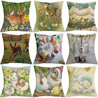 """18""""  Easter Bunny pattern Cotton Linen Home Decoration Cushion Cover Pillow Case"""