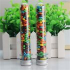 10-50Pcs Plastic Lab Test Tubes Metal Caps Screw Top Lid Candy Wedding Party