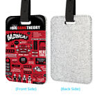 The Big Bang Thoery Bazinga Leather Glitter Luggage Tag Travel Bag Silver