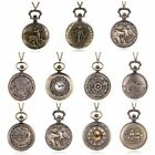 Retro Bronze Steampunk Retro Antique Pocket Watch Quartz Pendant Necklace Gift image