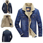 Men Jean Jacket Fur Collar Fleece Lined Fashion Casual Denim Winter Warm Coat TP