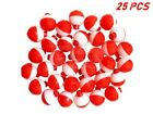 """25 50 100 PACK - 1"""" Fishing Bobbers RED & WHITE Snap-On Round Floats Wholesale"""