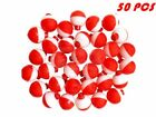 "25 50 100 PACK - 1"" Fishing Bobbers RED & WHITE Snap-On Round Floats Wholesale"