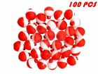 25 50 100 PACK - 1 Fishing Bobbers RED & WHITE Snap-On Round Floats Wholesale