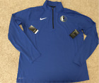 NIKE DALLAS MAVERICKS 1/4 ZIP PULLOVER ELEMENT DRI FIT BLUE NBA PICK SIZE