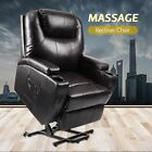 Electric Power Lift Recliner Chair W/Massage Sofa Real Leather Remote Control
