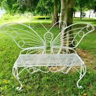 Butterfly Metal Garden Décor Butterfly Bench 60 X 18  X 42-inch White Or Black
