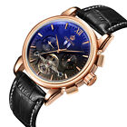 ORKINA NEW Men's Skeleton Calendar Automatic Mechanical Leather Men Wrist WatchWristwatches - 31387