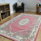 100% Wool Child Pink Shabby Chic Traditional Aubusson Design Rug - 5' x 8'