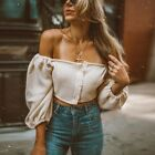 New Women's Tops Sexy Boat Neck Midriff-baring Tops Off The Shoulder T-Shirts
